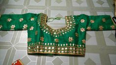 Blouse stuff: Golden Gota Patti work on Dhupian fabric, max one can alter according to size. Blouse Styles, Blouse Designs, Blouses, Fabric, Tops, Women, Fashion, Tejido, Moda