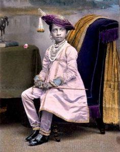 sisterwolf:    Painted photograph of Maharaja Shivaji Bhonsle (1863-1883) of Kolhapur, c. 1870  via
