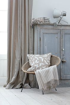 Plan: pale smoke walls, gray furniture, grayish blue quilt, shades of cream, gray, burlap.