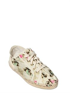 TATA NAKA - PRINTED CANVAS ESPADRILLAS FLATS - LUISAVIAROMA - LUXURY SHOPPING WORLDWIDE SHIPPING - FLORENCE
