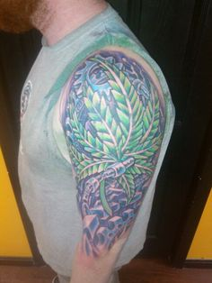 #tattoo #freehand #custom #colortattoo #biomech ##nh #manchester #ink #bodyart #JakeCustomTattoos #plant