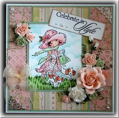This week's Lili of the Valley challenge is Celebrate, and here's the card I did for the challenge. Homemade Greeting Cards, Shabby Chic Cards, Valley Girls, Lily Of The Valley, Copics, Project Ideas, Projects, Stampin Up, Birthday Cards
