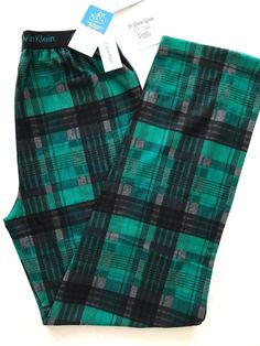 CALVIN KLEIN BOYS LOUNGE PAJAMA PANTS SIZE 10-12 GREEN PLAID NEW #CalvinKlein #PajamaPantsONLY