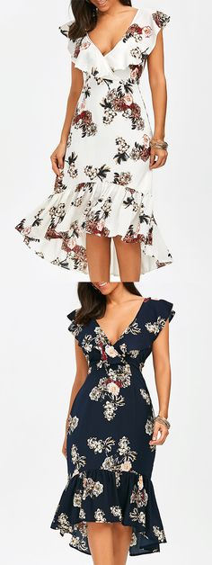 Plunging Floral Ruffle Backless Tea Length Dress