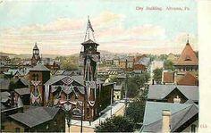 Altoona Pennsylvania PA 1908 Flag Draped City Building Antique Vintage Postcard