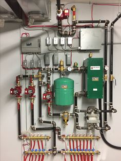Hydronic Radiant Floor Heating, Hydronic Heating, Duct Insulation, Electrical Circuit Diagram, Mechanical Room, Underfloor Heating Systems, Plumbing Installation, Heating And Cooling, Basement