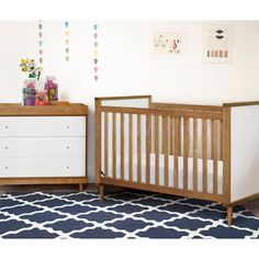 Babyletto Skip 3-in-1 Chestnut and White Convertible Crib with Toddler Rail | Overstock.com Shopping - Great Deals on Babyletto Cribs