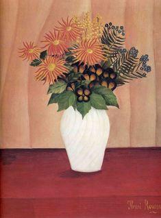 Bouquet of flowers by Henri Rousseau ~ De magische kunst: Henri Rousseau Henri Rousseau, Art Floral, Flower Vases, Flower Art, Potted Flowers, France Art, Naive Art, Oeuvre D'art, Painting Inspiration
