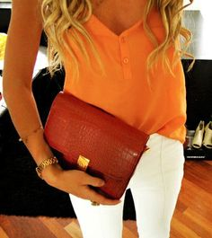 orange and white jeans