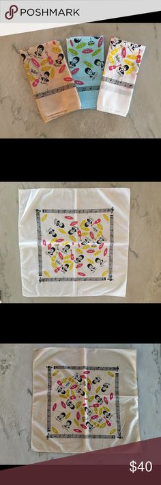 "Three Vintage Beatles Handkerchiefs 4 Guys/Girls This listing includes 3 Authentic Vintage Handkerchiefs that are in excellent & perfect condition. They can be bought separately. The designs on each Handkerchief features designs inspired by the Beatles and features images of Paul McCartney, John Lennon, Ringo Starr, & George Harrison surrounded by colorful images of guitars and LP Records. Included are a blue, white and tan handkerchief. Dimensions 21.5""W x 21.5""H x 0.1""D. Please specify…"