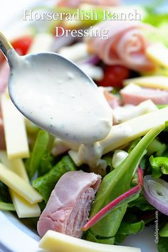 Horseradish Ranch Dressing makes the perfect dressing to perk up your salads, sandwiches or to serve as a dip. Get this quick and easy horseradish ranch dressing recipe. Keto Salad Dressing, Ranch Dressing Recipe, Ranch Recipe, Horseradish Recipes, Bbq Chicken Salad, Frugal Meals, Healthy Salad Recipes, Vegetable Dishes, Favorite Recipes