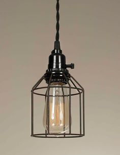 Industrial Pendant Ligthing - Wire Caged Rustic Lighting