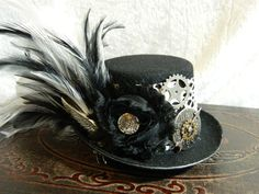 ABOUT TIME Mini Top Hat fascinator hair clip by SteampunkAttic
