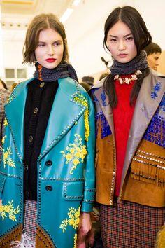 Prada at Milan Fashion Week Fall 2017 - Backstage Runway Photos