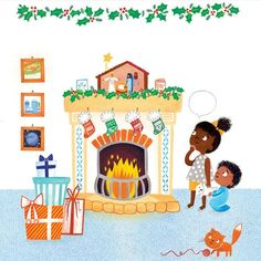 Emma  Randall  Illustration - emma, randall, emma randall, commercial, trade, editorial, sweet, young, fiction, picture book, greetings cards, paint, painting, digital, photoshop, illustrator, family, christmas, siblings, presents, love, fire, gifts, xmas,