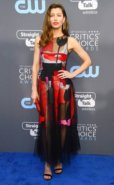 """Jessica Biel from 2018 Critics' Choice Awards Red Carpet Fashion  """"Just five very serious professionals taking their professions very seriously! #criticschoiceawards,"""" The Sinner star wrote on Instagram while posing with her beauty team."""