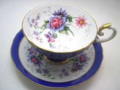 Large Crown Staffordshire Tea Cup And Saucer, Cobalt Blue with lavender and pink flowers, Wide Mouth Fine Bone china.