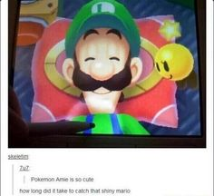 The new shiny Mario is sooo cool Thanks Game, Funny Things, Funny Stuff, Pokemon, Fandom Memes, Mario And Luigi, Still In Love, Catch Em All, Fire Extinguisher