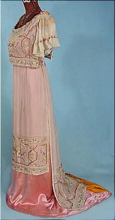 Gown, Forsyth, Los Angeles, CA: ca. 1909, embroidered satin and chiffon.
