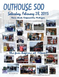 Have you ever wanted to race an outhouse? You can on February 28th, 2015 at Coopersville's Outhouse 500!