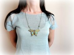 Butterfly necklace Wood pendant brown blue turquoise by GBILOBA, €19.50