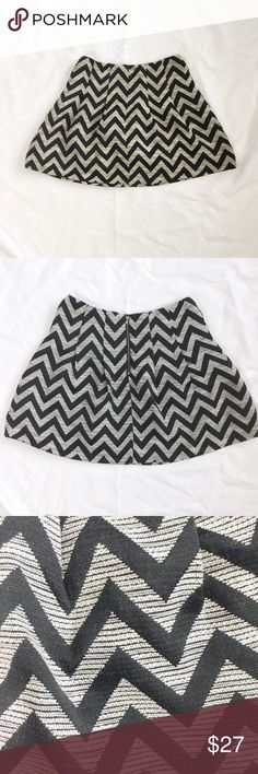 Skies are Blue Mini Skater Skirt Black & white zig-zag Skies are Blue mini skater skirt. Exposed back zipper. Lined. Soft pleating. A-line. Cotton & polyester. Reasonable offers accepted. Skies are Blue Skirts Mini