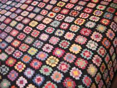 1960's woollen retro crochet 'granny' blanket.
