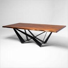 Aksel Dining Table - walnut slab top on black steel base - Scan Design Furniture   Modern & Contemporary   Florida
