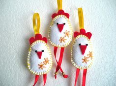 Felt Birds Ornaments Easter Chickens Felt Ornaments by feltgofen