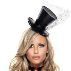 Black Sparkle Mini Top Hat
