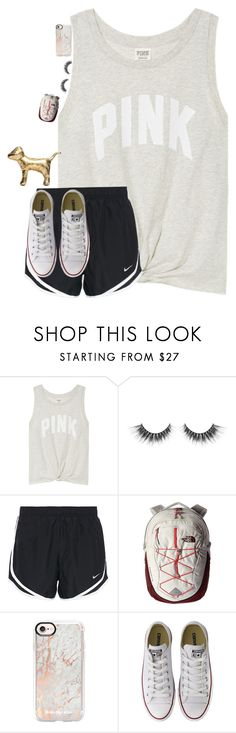 """•spicy chicken salad with a taco•"" by mackenzielacy814 on Polyvore featuring Victoria's Secret, The North Face, Casetify, Converse and Victoria's Secret PINK"
