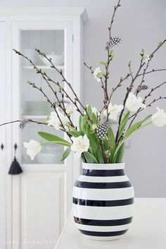 Striped vase + fresh blooms