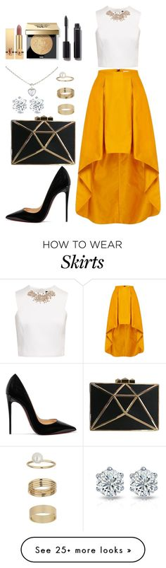 """Yellow skirt"" by i-m-penguin-purple974 on Polyvore featuring Ted Baker, Christian Louboutin, Miss Selfridge, Cartier, Yves Saint Laurent, Bobbi Brown Cosmetics, Chanel, Louboutin, yvessaintlaurent and BobbiBrown"