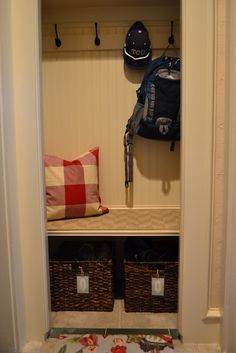 small mudroom closet...could transform coat closet in front entry