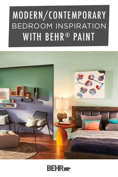 When it comes to modern and contemporary bedrooms, you can never have too many colors. Luckily, Behr Paint has plenty of trending shades to choose from. This funky, eclectic space features Mild Mint, Hematite, Gallery Green, and Camelot. Click below for more inspiration.
