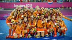 Dutch with their gold medals during the 2012 Olympic games.