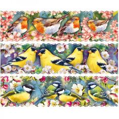 """Zauberfolien """"Vögel auf Zweigen"""", Schrumpffolien für Ø12cm, 6 Stück"""
