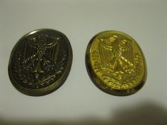 "Brass Bronze Oval Cap Insignia German Coat of Arms Eagle Hue WA  4 Prongs 2"""