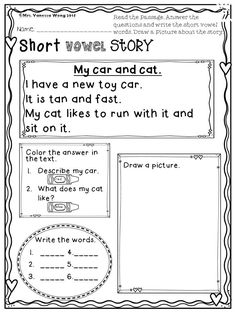 Download free printables at preview -Short vowel story- Feb math and literacy pack kindergarten