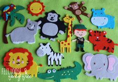 14-piece Jungle Safari Felt Board Story from Felt Loose & Fancy Free, including your choice of an explorer boy or girl. Perfect for little explorers who love learning about animals - whether they live in the jungle or at your nearest zoo. Felt board story sets that promote literacy, imagination, and learning - all in one playful pouch! www.etsy.com/shop/FeltLooseFancyFree #felties #feltboard #woolfelt