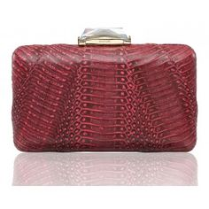 Espey Rectangular box Clutch in Coral with Dark Markings wrapped with Snakeskin. #KOTUR #handbag #minaudiere #spring14