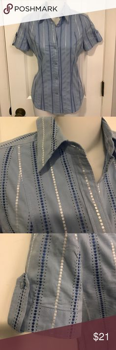 Blue cotton shirt made for jeans. Small The perfect shirt for lazy weekends in jeans. The vertical blue and white embroidered stripes enhance the princess seams, helping you immediately lose a couple of pounds!  Size small. New York & Company Tops Button Down Shirts