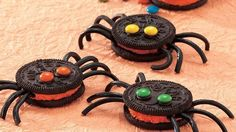Create creepy crawly spooky spiders from creme-filled sandwich cookies and a couple of candies. Have some silly fun!