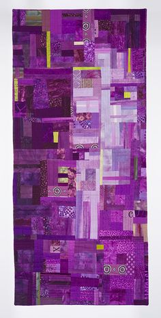 """""""Number 14"""" by Pat Pease.  Red-violet with chartreuse complement.  Posted by Joen Wolfrom"""