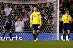 Stoke City FC 2 Sunderland AFC 0: Sunderland players are dejected after their sixth successive away defeat.