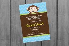 Monkey Baby Shower Invitation Card Monkey by NorthernDesigns, $9.00