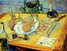 Vincent van Gogh: Still Life with Drawing Board, Pipe, Onions and Sealing-Wax (1889) by petrus.agricola, via Flickr