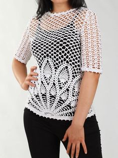 In the elegant lace motif of this crocheted Pineapple Stitch top, it's easy to stay unique and sexy everywhere you go. Irish Crochet Patterns, Crochet Vest Pattern, Crochet Jacket, Crochet Stitches, Diy Crochet Sweater, Crochet Blouse, Crochet Clothes, Crochet Bikini, Pull Crochet