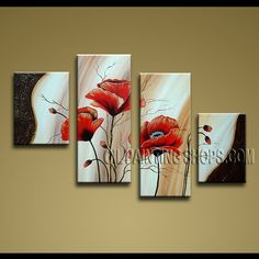 Large Contemporary Wall Art Hand-Painted Art Paintings For Living Room Poppy Flowers. This 4 panels canvas wall art is hand painted by Anmi.Z, instock - $135. To see more, visit OilPaintingShops.com