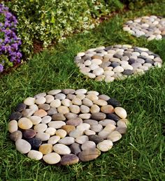 Set of 3 River Rock Stepping Stones create a pretty pathway in your yard or garden. A great solution for grassy, muddy or damp areas.